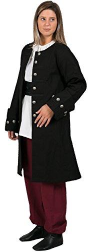 Calvina Costumes Rota Medieval Pirate Jacket Made in Turkey, (Black Frock Coat Costume)