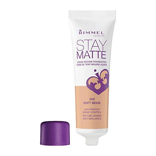 (Rimmel Stay Matte Foundation Soft Beige 1 Fluid Ounce Bottle Soft Matte Powder Finish Foundation for a Naturally Flawless Look)
