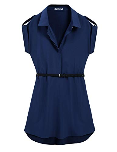 Bikeias Summer Casual Chiffon Belted Blouses for Women,Navy ()