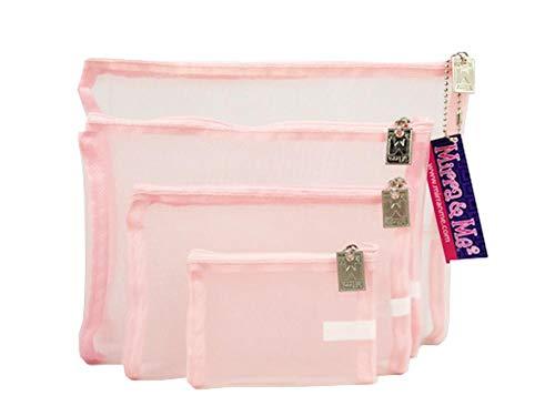Mirra N Me Pastel Light Pink Mesh Zipper Bags Set of 4 Travel Gift Storage ()