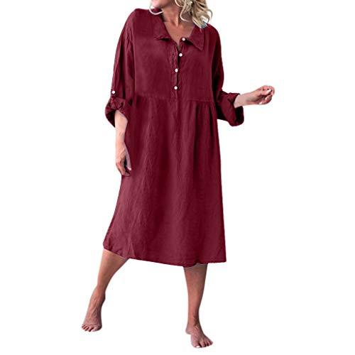 aihihe Women's Summer Casual Button T Shirt Collar Dresses 3/4 Sleeve Cotton Linen Loose Swing Dress(Wine,M) -