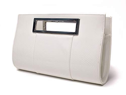 Ilishop Women's Classic Crocodile Pattern Faux Leather Metal Grip Clutch (White) (Clutch Purse White)