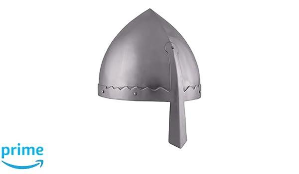 Norman nasal casco con funda de cuero interior - casco de Vikingo - normandos - casco medieval - Vikingo: Amazon.es: Deportes y aire libre