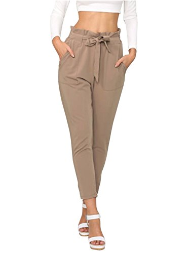 Simplee Apparel Women's Slim Straight Leg Stretch Casual Pants with Pockets Tan, -
