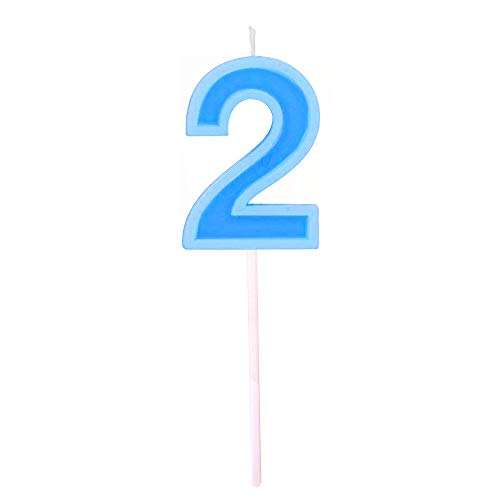 Multicolor Happy Birthday Numeral Candles Number 2 Cake Cupcake Topper Decoration for Adults/Kids Theme Party/Wedding/Memorial day -Blue number 2