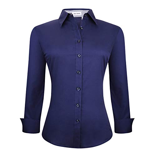 tton Down Shirts Long Sleeve Cotton Stretch Work Shirt,Navy,M ()