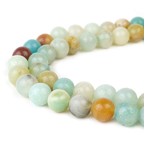 RVG 8mm Natural Amazonite Beads Round Gemstone Loose Amazon Stone Mala 15.5 in Strand for Jewelry Making (Approx 45-48 pcs)