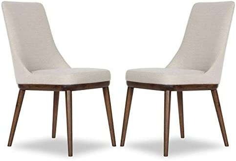 Pemberly Row Mid Century Modern Grayson Beige Dining Chair (Set of 2)