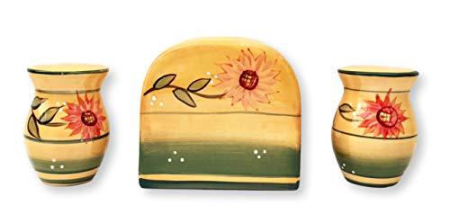 Ceramic Napkin Holder - Tuscany Kitchen Yellow Country Sunflower, Hand Painted Ceramic Napkin Holder, Salt & Pepper shaker Set, 82928-1 by ACK