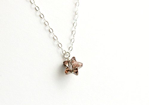 - Tiny star necklace, minimalist solitaire, dainty crystal pendant, rose gold Swarovski star, sterling silver jewelry, small twinkle kawaii
