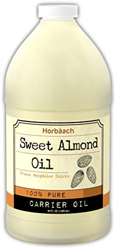 Horbaach Sweet Almond Oil 64 fl oz 100% Pure – for Hair, Face & Skin – Expeller Pressed – Vegetarian, Non-GMO