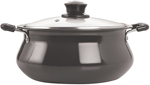Tosaa Hard Anodised Aluminium Handi with Lid, 1.5 Litres, Black
