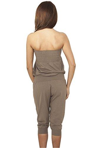Ladies Shoulderfree Capri Jumpsuit stone XL