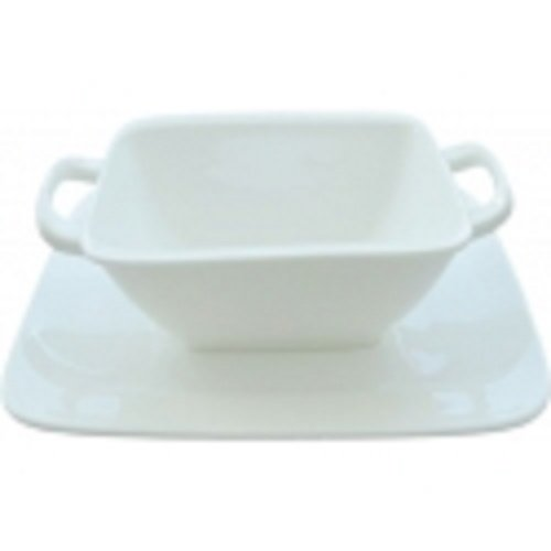 Tannex Luxury Square Bowl and Saucer Set (Buffet Saucer Squares White)