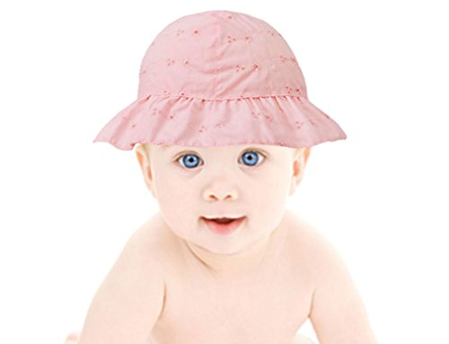 Baby Summer Floral Embroidered UPF 50+ UV Protection Sun Hat,Pink,0-12 - Bands Ray Pink