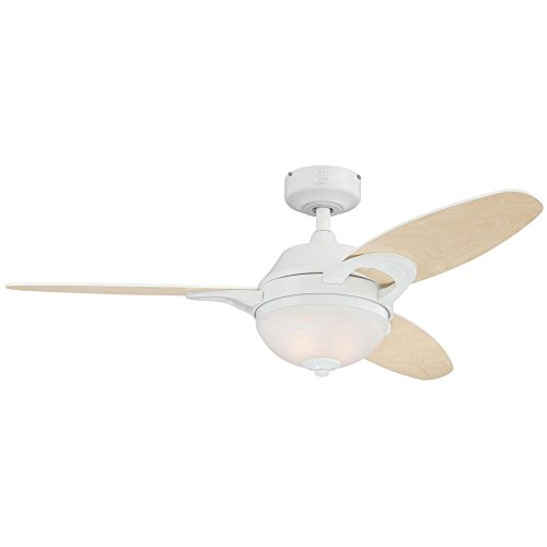 Westinghouse White Frosted Ceiling Fan - Westinghouse 7869100 Arcadia Two-Light 46-Inch Reversible Three-Blade Indoor Ceiling Fan, White with Frosted White Alabaster Glass