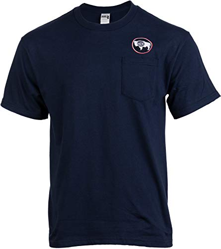 Wyoming Flag Pocket Tee | Embroidered Crest Buffalo WY State Pride Men Women T-Shirt-(Pocket,2XL) Navy Blue