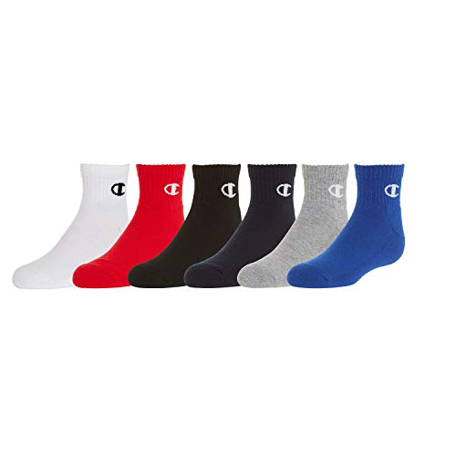 (Champion Kids' Big 6-Pack Socks in Quarter or Low Cut, Surf Blue, 7-9)