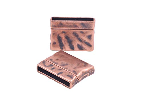 KONMAY 5 Sets 25.0x3.0mm Pounded Antique Copper Magnetic Jewelry Clasp for Jewelry Making