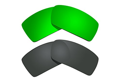 2 Pairs Polarized Replacement Lenses Black & Green for Oa...