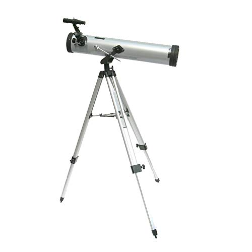 Leiyini Student Portable Telescope Outdoor 1.5 Times Magnification Mirror Telescope Astronomy 2 Times Barlow Large Diameter with Tripod Silver Single Cylinder Telescope by Leiyini (Image #1)