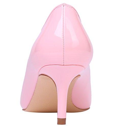 Lackleder Bunt Kitten Elegante nbsp;Schuhe AOOAR Pink Pumps Damen Heel q4xBA