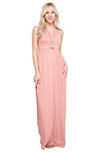 Maxi Dresses for Women Solid Lightweight Long Racerback Sleeveless W/Pocket -Blush (Medium)