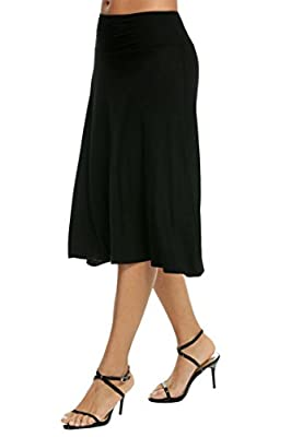 ELESOL Women's Basic Stretch Solid Fold-Over Knee Length Flowy Skirt
