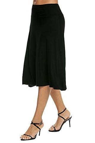 Elesol Women's Basic Stretch Solid Fold-Over Knee Length Flowy Skirt Black S (Midi Skirt Black)