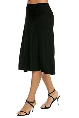 Fold Over Flare Skirt - ELESOL Women's Basic Stretch Solid Fold-Over Knee Length Flowy Skirt Black M