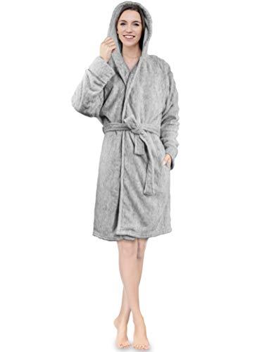 (Women Hooded Fleece Robe | Plush Short Spa Bathrobe with Hood Knee Length (Melange Charcoal))
