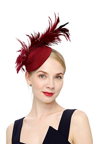 Cizoe Fascinator Hair Clip Pillbox Hat Bowler Feather Flower Veil Wedding Party Hat Tea Hat(4-burgundy)