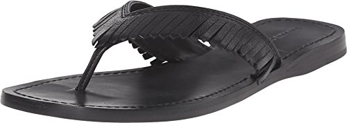 Frye Leather Thongs - FRYE Women's Perry Feathered Thong Black Soft Vintage Leather 8 B US