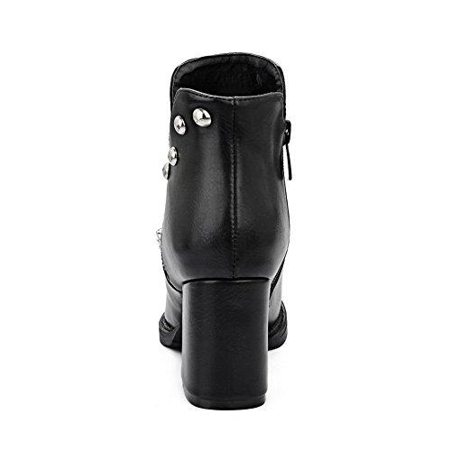 A&N Womens Chunky Heels Winkle Pinker Rivet Imitated Leather Boots Black nWLS8Jd