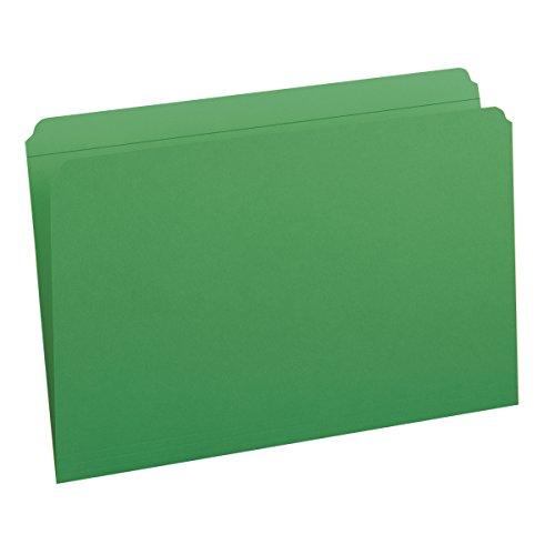 Smead File Folder, Reinforced Straight-Cut Tab, Legal Size, Green, 100 per Box (17110)