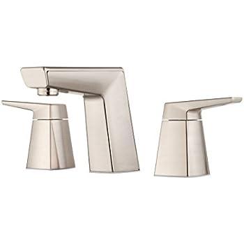 Pfister lg49lpmk arkitek 2 handle 8 inch widespread - 8 inch brushed nickel bathroom faucet ...