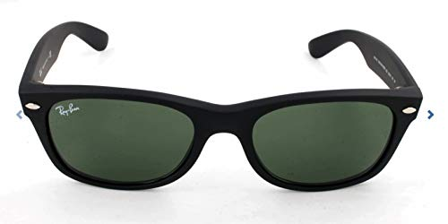 Ray-Ban RB2132 New Wayfarer Sunglasses, Black Rubber/Green, 52 mm