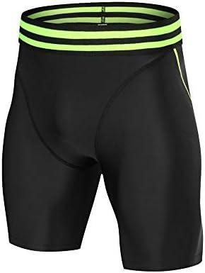 短いフィットネス メンズ速乾性のタイツスウェットパンツ圧縮トレーニングメンズ用ショーツを実行します スポーツショーツ (色 : Black, Size : XXXL)