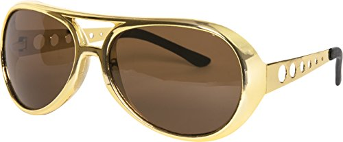 Kangaroos Gold 60s Rock Star Aviator Sunglasses; Metal Side - Costume Sunglasses