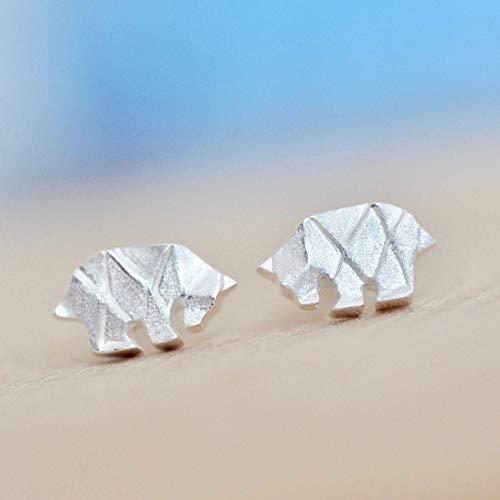 Origami Bear Earrings in Sterling Silver 925- Jamber - Earrings Bear