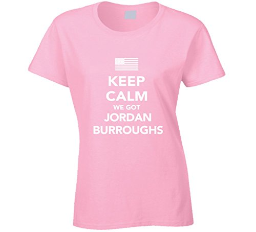 Jordan Burroughs Keep Calm USa 2016 Olympics Wrestling Ladies T Shirt 2XL Light Pink by Mad Bro Tees