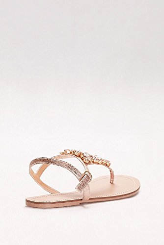 Jeweled Metallic Ankle-Strap Thong Sandals Style Rio, Rose Gold, 11W by David's Bridal (Image #1)
