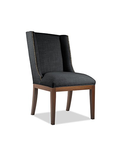 SOUTH CONE HOME Linen Fabric Cognac Finish Bailey Dining Chair with Nail Head, 38