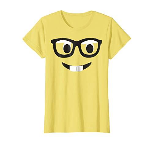 Womens Emoji Shirt Costume Buck Teeth Emoji Nerd Glasses Yellow Medium Lemon