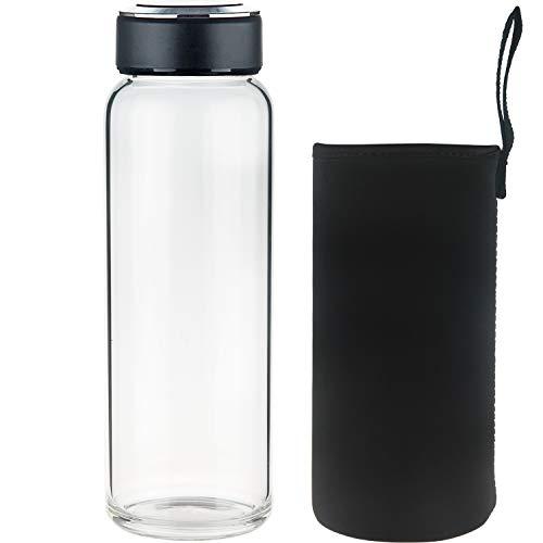 - SHBRIFA Borosilicate Glass Water Bottle 32oz, BPA Free Glass Drinking Bottle with Neoprene Sleeve and Leak-Proof Stainless Steel Lid (1000ml, Black)