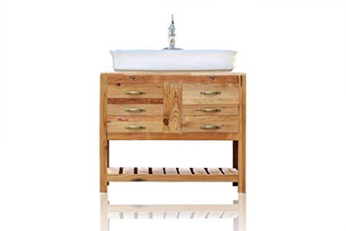 "Wood Bathroom Consoles - 39"" Reclaimed Wood Bath Vanity Cabinet Vessel Sink Apothecary Chest Single Bath Console Package"