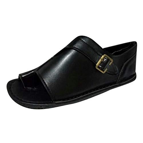Sanyyansly Women Belt Buckle Retro Large Size Boots Shoes Flip Flop Pump Shoes Spring Autumn Slip On Flat Ladies Sandals Black