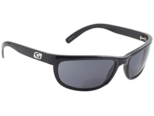 Guideline Eyegear Hatteras Bifocal + 2.00 Sunglass, Shiny Black Frame, Deepwater Gray Lens, - Nearby Sunglasses