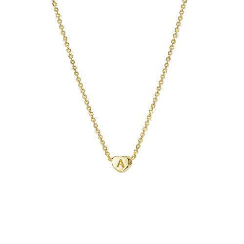 Gold Tiny Initial A Heart Necklace,14K Gold Plated Delicate Cute Dainty Charm Initial Alphabet Letter Love Heart Pendant Choker Necklaces for Women Child Kids Girls Personalized ()