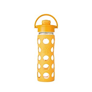 Lifefactory 16-Ounce BPA-Free Glass Water Bottle with Flip Cap & Silicone Sleeve, Collegiate Yellow